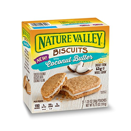 Nature Valley Biscuits, Coconut Butter, Breakfast Biscuits with Coconut Filling, 5 Count (Pack of 4)