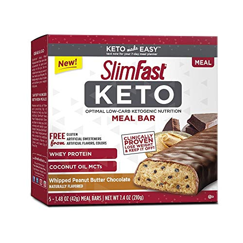 SlimFast Keto Meal Replacement Bar, Whipped Peanut Butter Chocolate, 1.48oz, 5 Pack Box