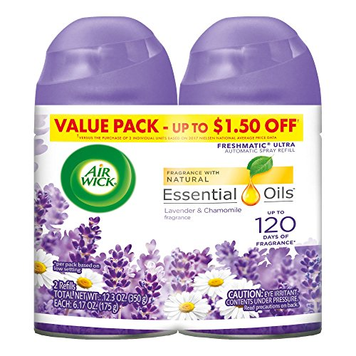 Air Wick Freshmatic 2 Refills Automatic Spray, Lavender & Chamomile, (2X6.17oz), Air Freshener