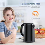 Electric Kettle, Miroco 1.5L Double Wall 100% Stainless Steel BPA-Free Cool Touch