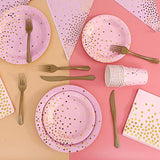 Pink and Gold Party Supplies Golden Dot Pink Themed Party Decoration Set