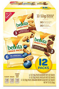 belVita Bites Variety Snack Packs - Mini Breakfast Biscuits, 12 Count Box, 12 Ounce (Pack of 3)