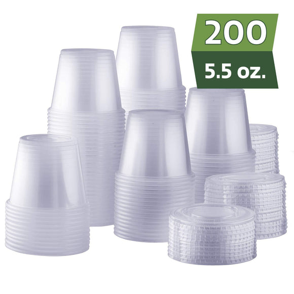 [200 Sets - 1 oz.] Plastic Disposable Portion Cups with Lids, Souffle Cups
