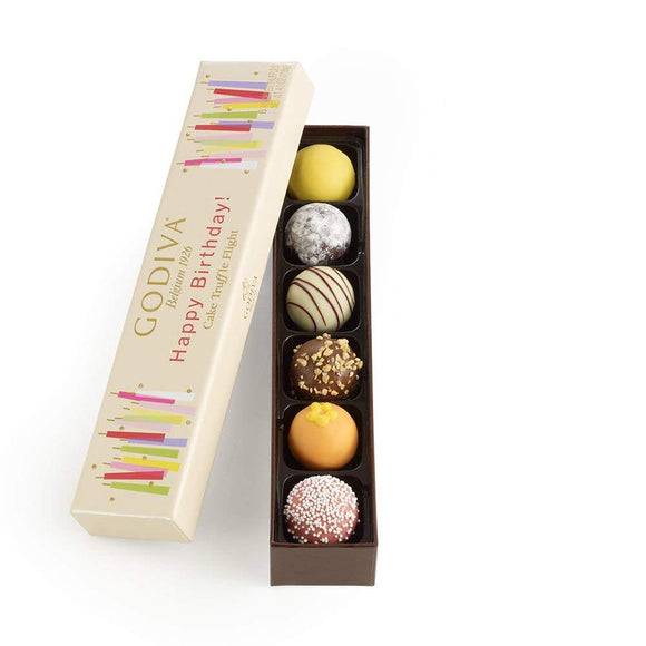 Godiva Chocolatier Happy Birthday Cake Chocolate Truffle Flight, Great for any gift, Birthday Gift, 6 Count