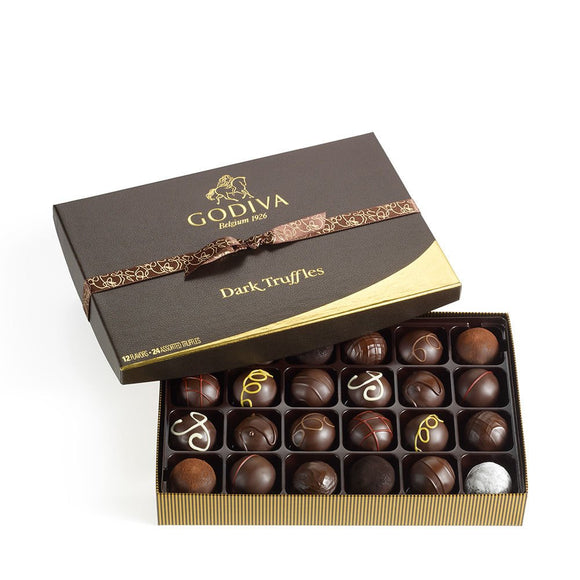 Godiva Chocolatier Assorted Dark Chocolate Truffles, Gift Box, 24 Count