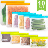 Reusable Storage Bags - 10 Pack BPA FREE Freezer Bags(2 Reusable Gallon Bags