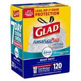 An Item of Glad ForceFlexPlus Tall Kitchen Drawstring Trash Bags, Febreze with Heavy Duty Crisp Clean Freshness, 13 Gallon (120 Count) - Pack of 1