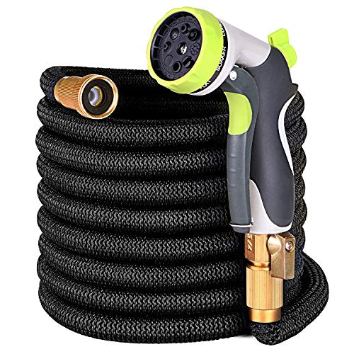 YEAHBEER 50 ft Garden Hose,Latex Core with 3/4 Solid Brass Fittings
