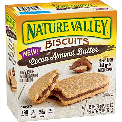 Nature Valley Biscuits with Cocoa Almond Butter, 5 Count (Pack of 4)
