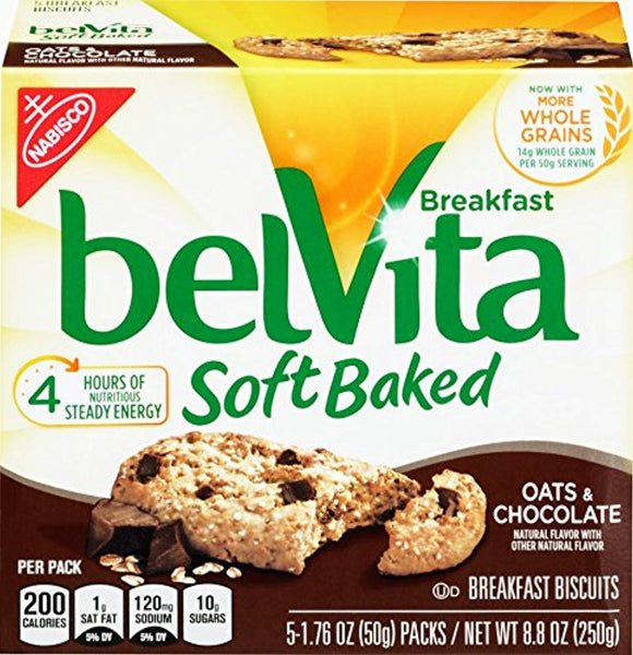 belVita Oats & Chocolate Soft Baked Breakfast Biscuits, 5 Count Box, 8.8 Ounce (Pack of 6)