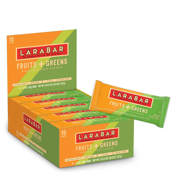 Larabar Gluten Free Bar, Fruits + Greens Pineapple Kale Cashew, 1.24 oz Bars (15 Count)