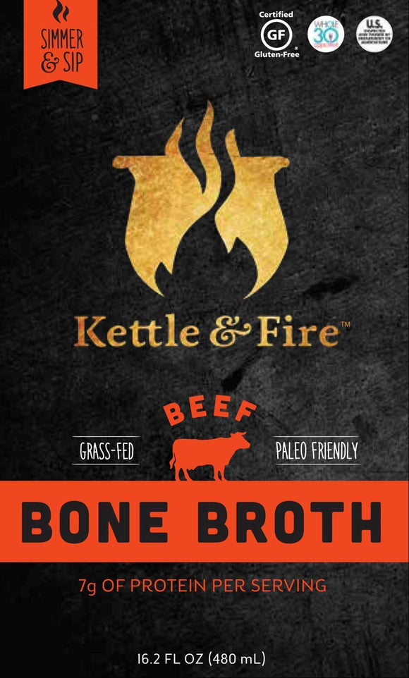 Kettle and Fire Beef Bone Broth: 2 Pack of Grass Fed Collagen and Gelatin Rich Broths, Paleo and Keto Diet Friendly