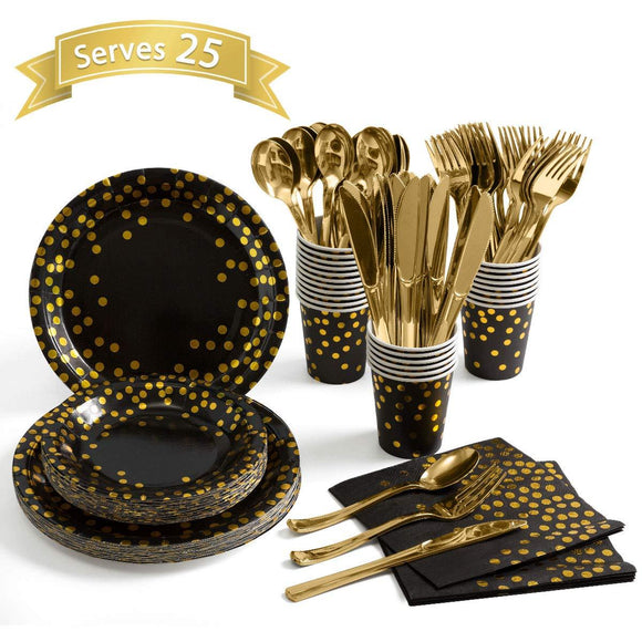 Pink and Gold Party Supplies – Disposable Dinnerware Set