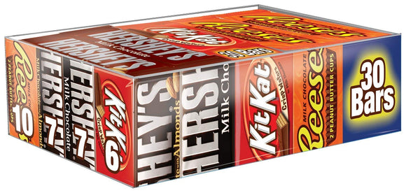 HERSHEY'S Holiday Chocolate Candy Bar Gift, 30 Count Variety (HERSHEY'S Milk Chocolate and Almond, KIT KAT, and REESE'S)