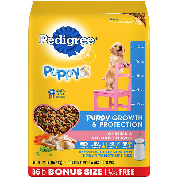 PEDIGREE Puppy Growth and Protection Chicken & Vegetable Flavor Dry Dog Food 36-lb.