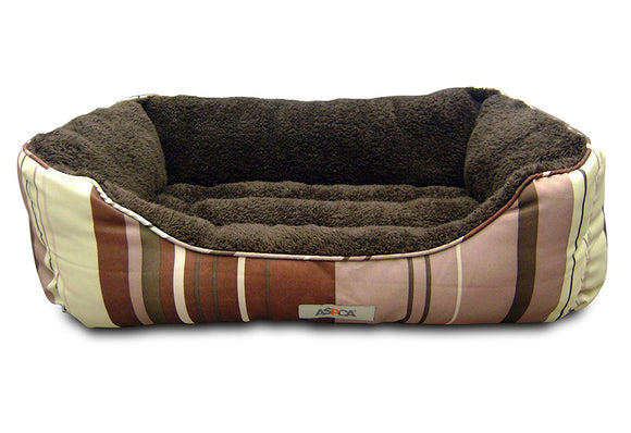 ASPCA Microtech Striped Dog Bed Cuddler, 28 by 18 by 8-Inch.