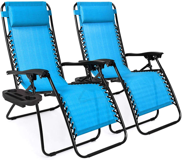 Set of 2 Adjustable Zero Gravity Lounge Chair Recliners for Patio, Pool w/ Cup Holder Trays, Pillows
