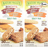Nature Valley Sandwich Biscuit Variety Pack, 30 Count (Pack of 2, Total of 60 Ct)