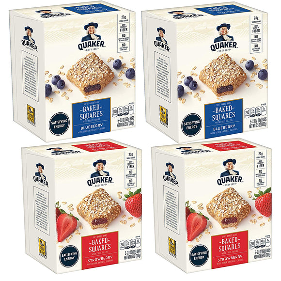 Quaker Baked Squares, Soft Baked Bars, Strawberry & Blueberry, 20Count
