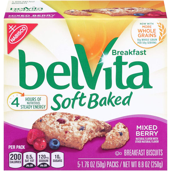 belVita Mixed Berry Soft Baked Breakfast Biscuits, 5 Count Box, 8.8 Ounce (Pack of 6)