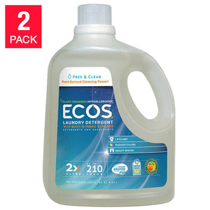 ECOS Laundry Detergent Free & Clear 210 fl. oz, 2-count