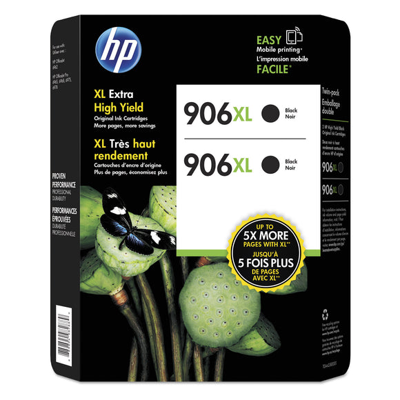 HP 906XL Extra High Yield Ink Cartridge Black, 2-count