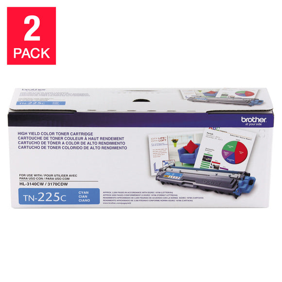 Brother TN225C High-Yield Toner Cartridge, Cyan, 2-pack