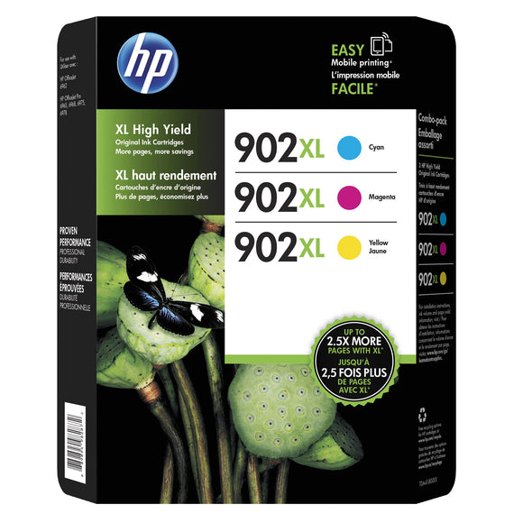 HP 902XL High Yield Ink Cartridge,Tri-Color Pack