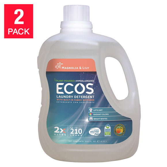 ECOS Magnolia and Lily Laundry Detergent 210 fl. oz, 2-count