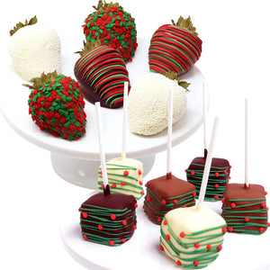 Christmas Belgian Chocolate Covered Strawberries and Cheesecake Pops, 12-piece