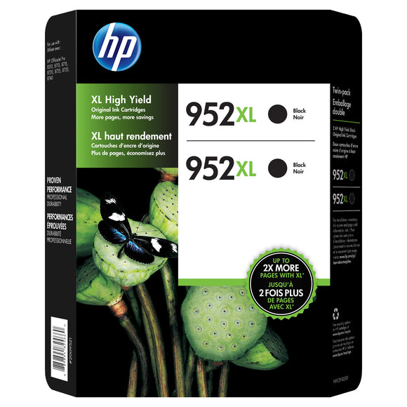 HP 952XL High Yield Ink Cartridge, Black, 2-count