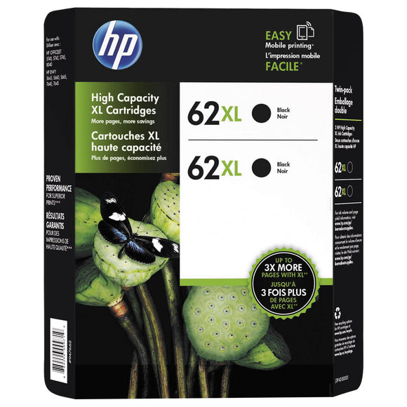 HP 62XL High Yield Ink Cartridge, Black, 2-count