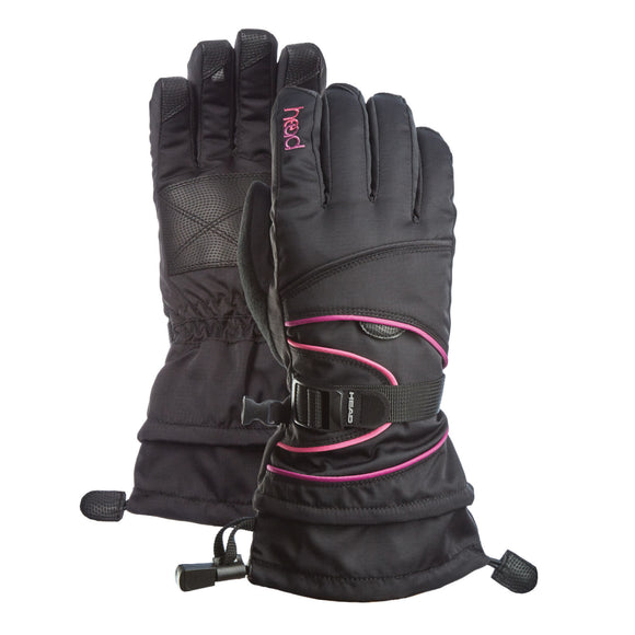 HEAD Junior Ski Gloves, Black/Purple/Pink