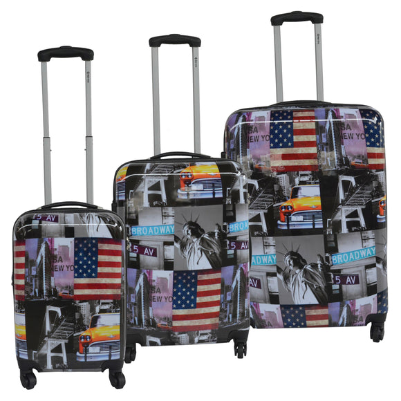 McBrine New York Print 3-piece Expandable Hardside Set