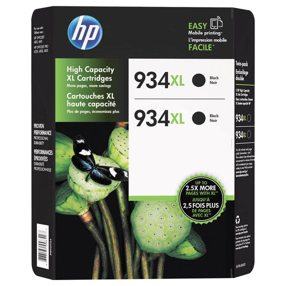 HP 934XL High Yield Ink Cartridges, Black, 2-count