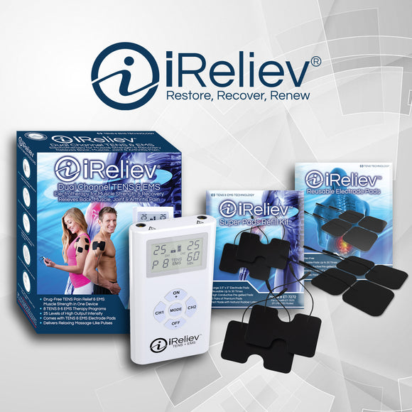 iReliev Dual Channel TENS & EMS System