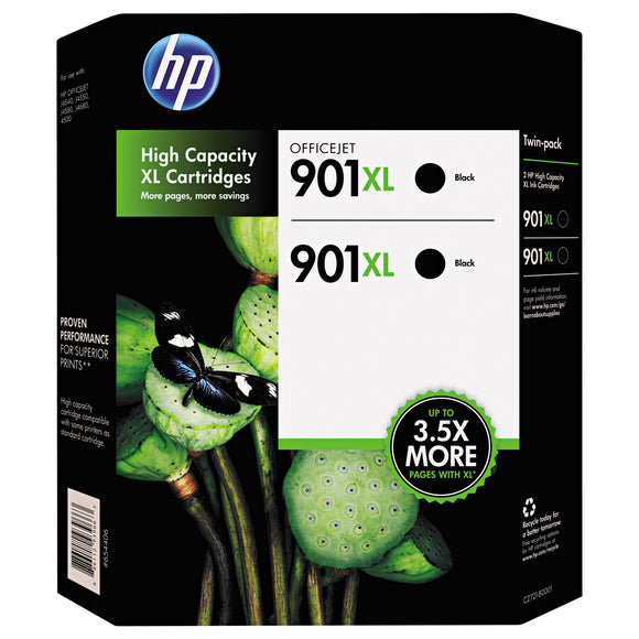 HP 901XL High Yield Ink Cartridge, Black, 2-count