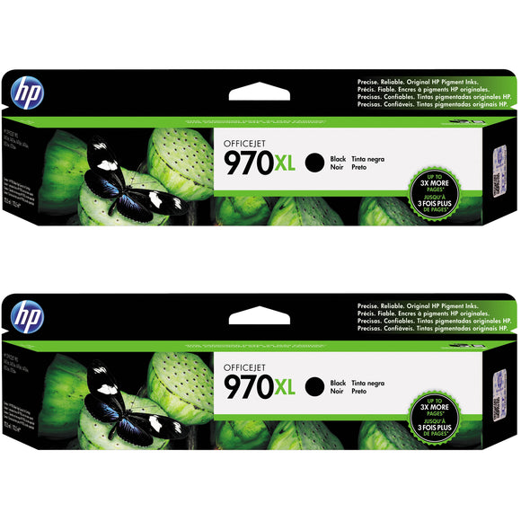 HP 970XL High Yield Ink Cartridge, Black, 2-pack