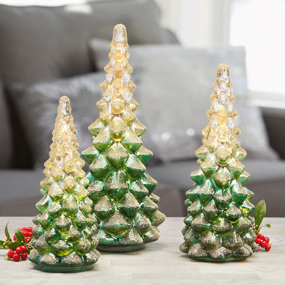 LED Glass Holiday Trees, Set of 3