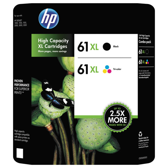 HP 61XL High Yield Ink Cartridge, Black & Multicolor, 2-count