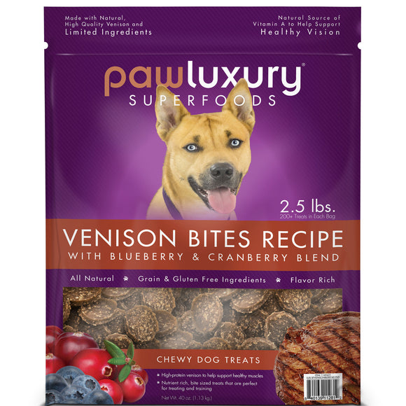 Pawluxury Venison Bites Recipe Chewy Dog Treats, 40 oz.