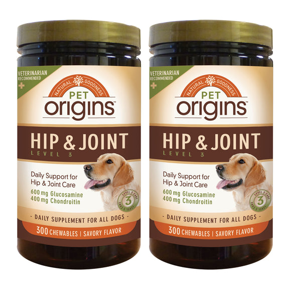 Pet Origins Hip & Joint Level 3 Chewable Tablets 300-count, 2-pack