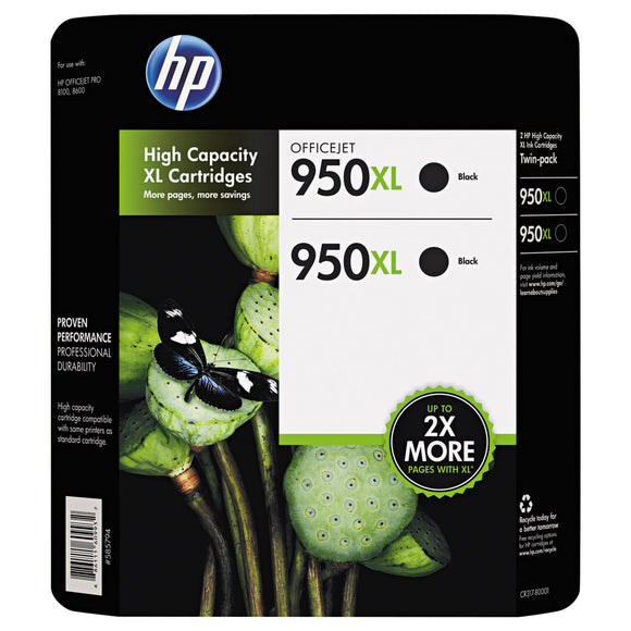 HP 950XL High Yield Ink Cartridge, Black, 2-count