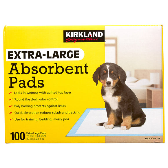 Kirkland Signature Extra-Large Absorbent Pads, 30 in L X 23 in W, 100-count