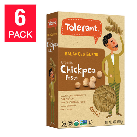 Tolerant Balanced Blend Organic Chickpea Penne 8 oz, 6-count
