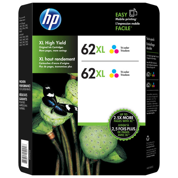 HP 62XL High Yield Ink Cartridge, Tri Color, 2-count