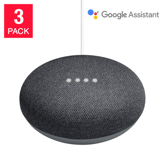 Google Home Mini Smart Speaker Powered by Google Assistant, Charcoal, 3-pack