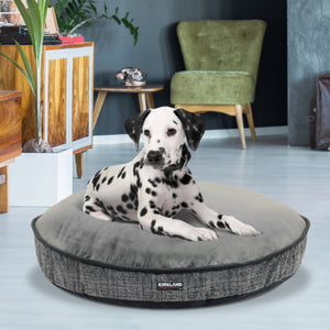 "Kirkland Signature 42"" Round Dog Bed, Gray Overlay Texture & Faux Suede"