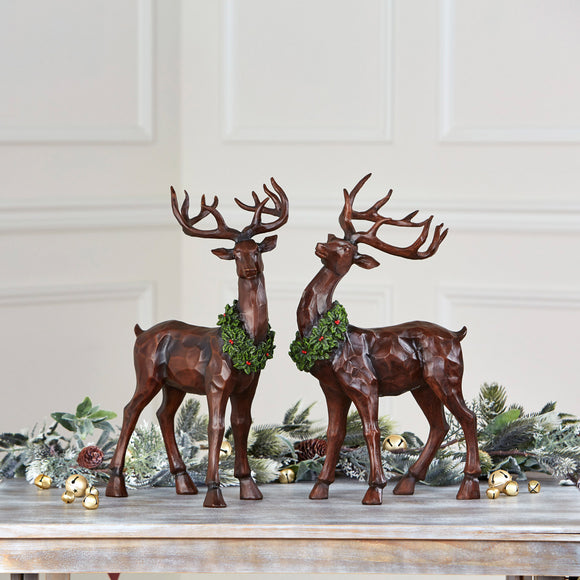 Table-Top Decorative Deer, Set of 2