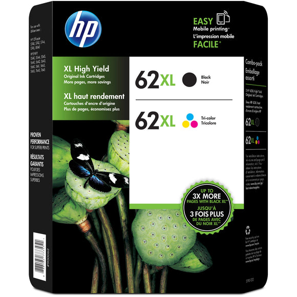 HP 62XL High Yield Ink Cartridge, Black & Multicolor, 2-count